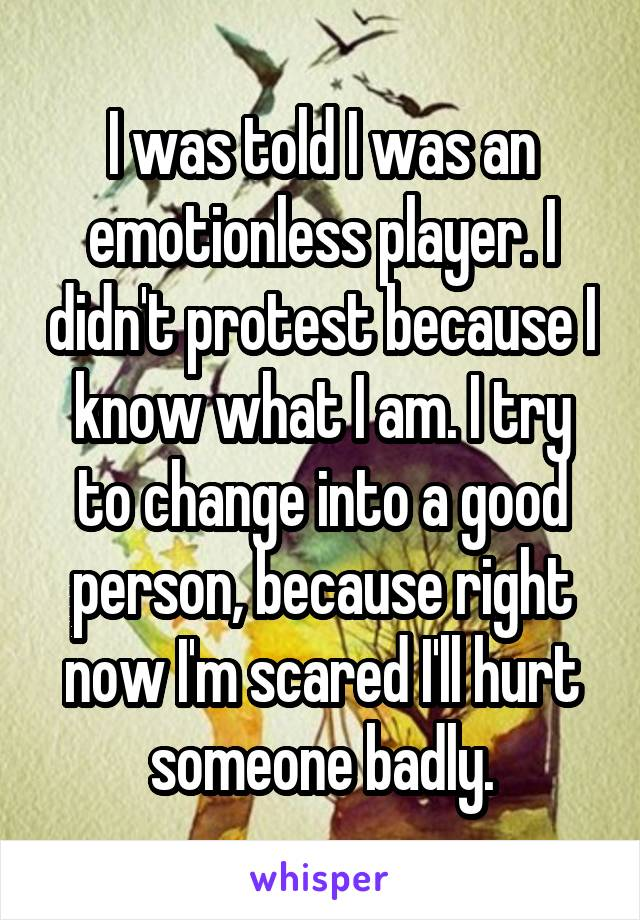 I was told I was an emotionless player. I didn't protest because I know what I am. I try to change into a good person, because right now I'm scared I'll hurt someone badly.