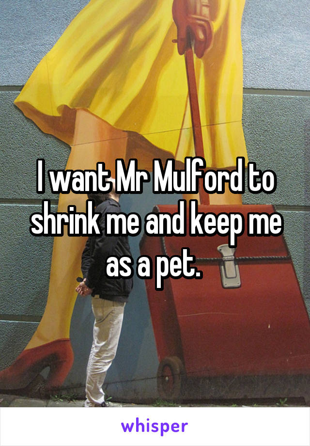 I want Mr Mulford to shrink me and keep me as a pet.
