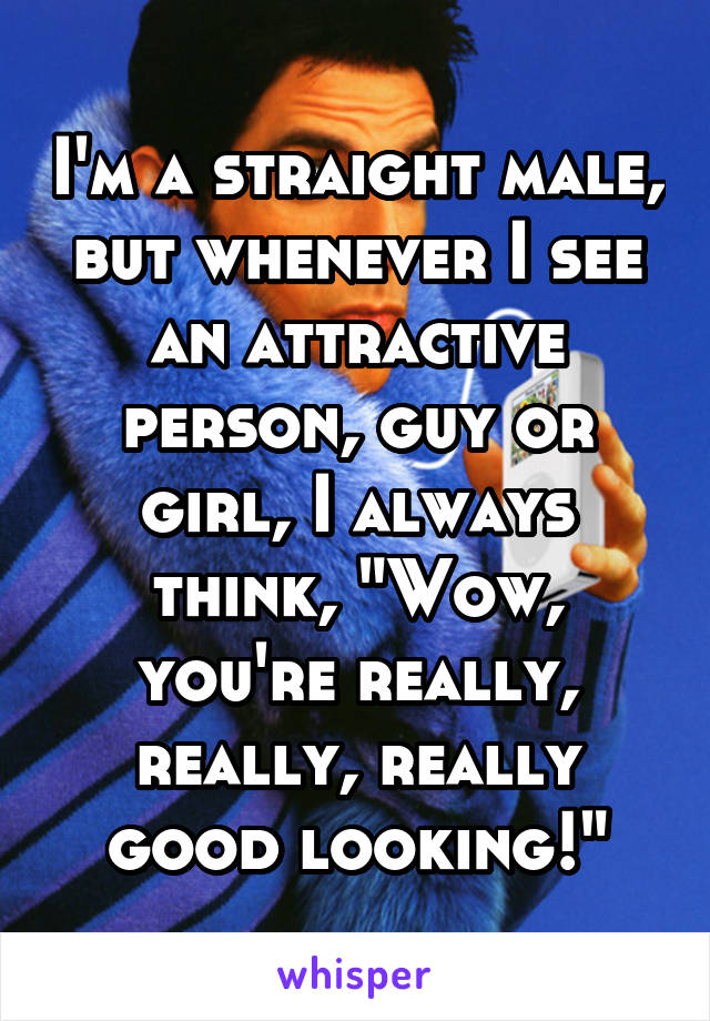 """I'm a straight male, but whenever I see an attractive person, guy or girl, I always think, """"Wow, you're really, really, really good looking!"""""""