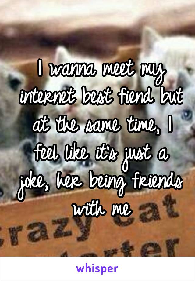 I wanna meet my internet best fiend but at the same time, I feel like it's just a joke, her being friends with me