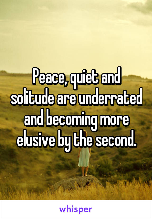 Peace, quiet and solitude are underrated and becoming more elusive by the second.