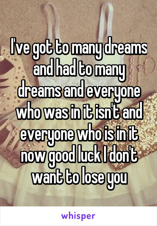 I've got to many dreams and had to many dreams and everyone who was in it isn't and everyone who is in it now good luck I don't want to lose you