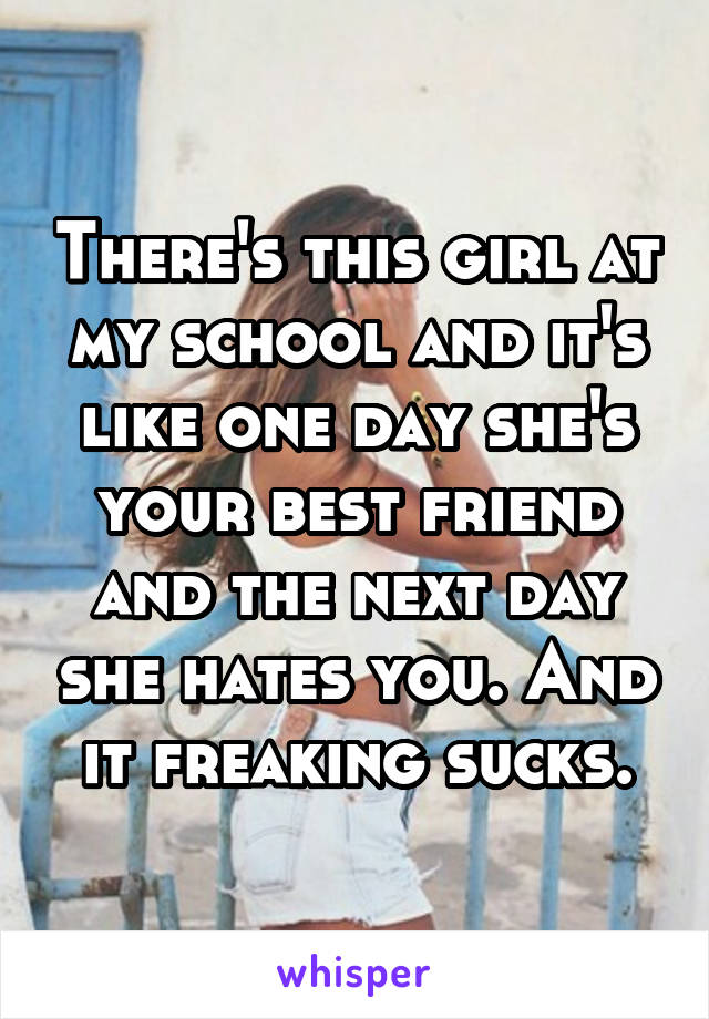 There's this girl at my school and it's like one day she's your best friend and the next day she hates you. And it freaking sucks.