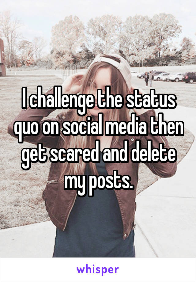 I challenge the status quo on social media then get scared and delete my posts.