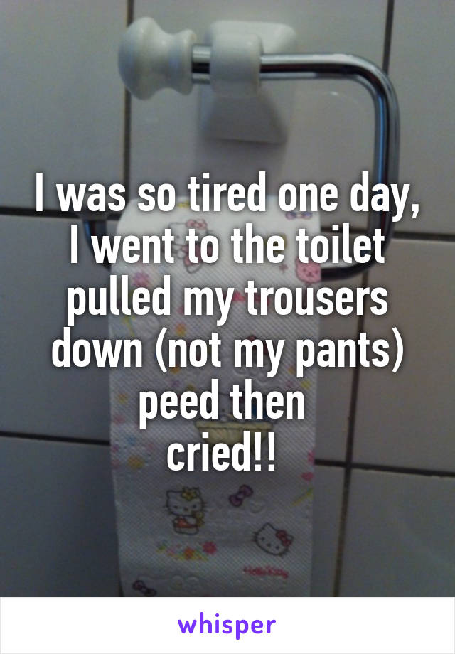 I was so tired one day, I went to the toilet pulled my trousers down (not my pants) peed then  cried!!