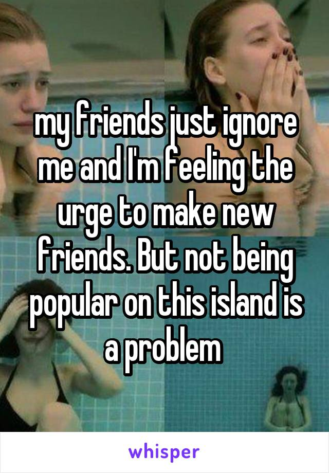my friends just ignore me and I'm feeling the urge to make new friends. But not being popular on this island is a problem