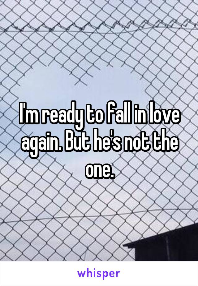 I'm ready to fall in love again. But he's not the one.