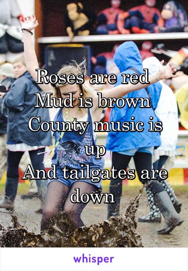 Roses are red  Mud is brown  County music is up And tailgates are down