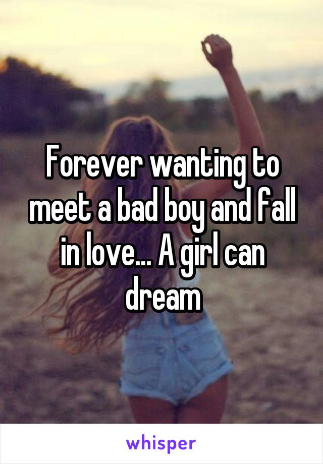 Forever wanting to meet a bad boy and fall in love... A girl can dream