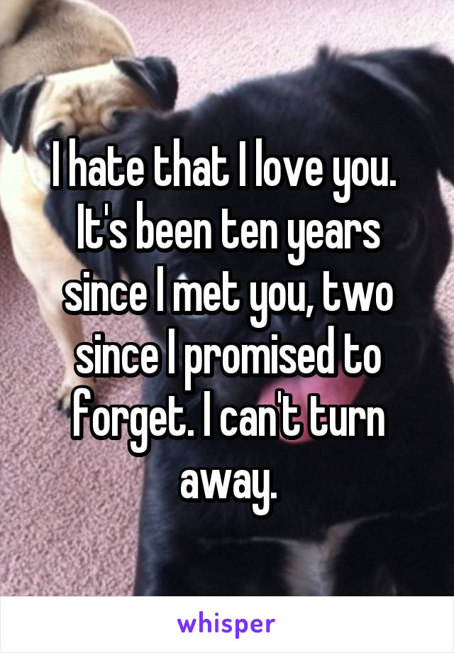 I hate that I love you.  It's been ten years since I met you, two since I promised to forget. I can't turn away.