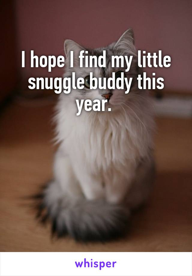 I hope I find my little snuggle buddy this year.