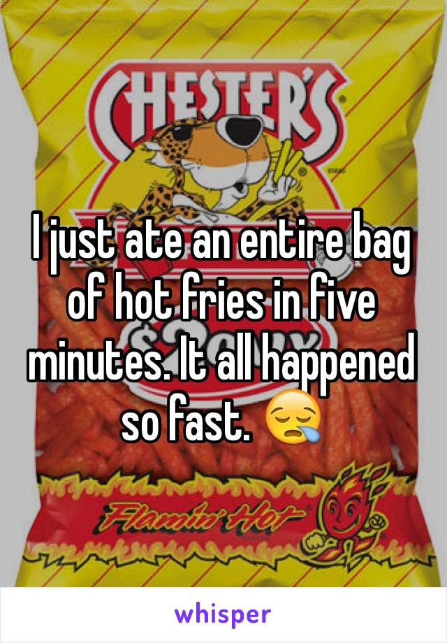 I just ate an entire bag of hot fries in five minutes. It all happened so fast. 😪