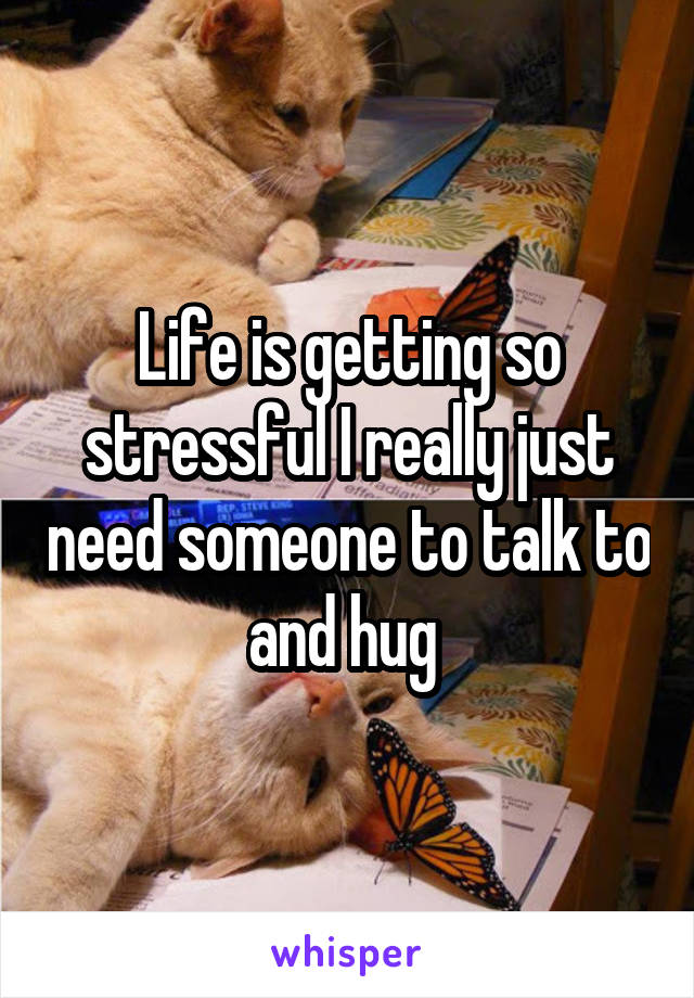 Life is getting so stressful I really just need someone to talk to and hug