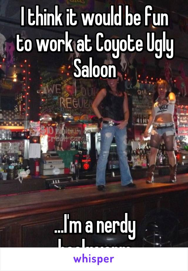 I think it would be fun to work at Coyote Ugly Saloon      ...I'm a nerdy bookworm