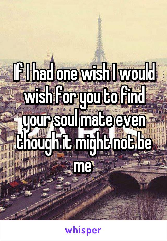 If I had one wish I would wish for you to find your soul mate even though it might not be me
