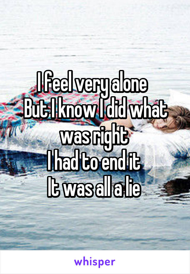 I feel very alone   But I know I did what was right  I had to end it  It was all a lie