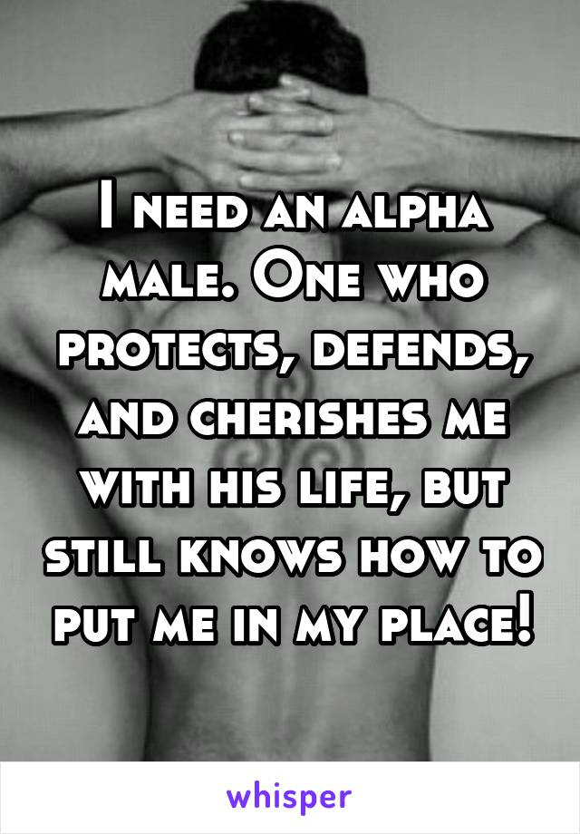 I need an alpha male. One who protects, defends, and cherishes me with his life, but still knows how to put me in my place!