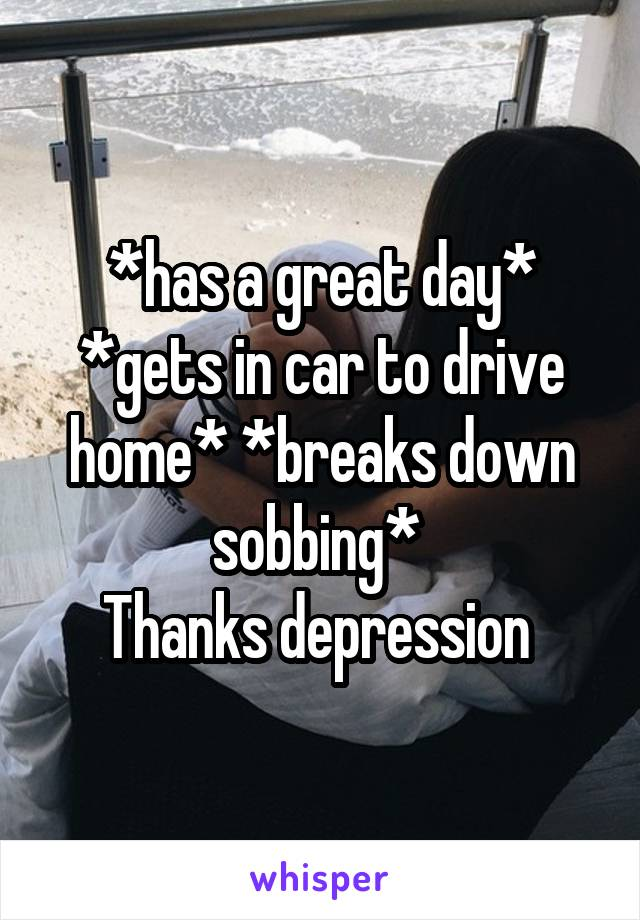 *has a great day* *gets in car to drive home* *breaks down sobbing*  Thanks depression
