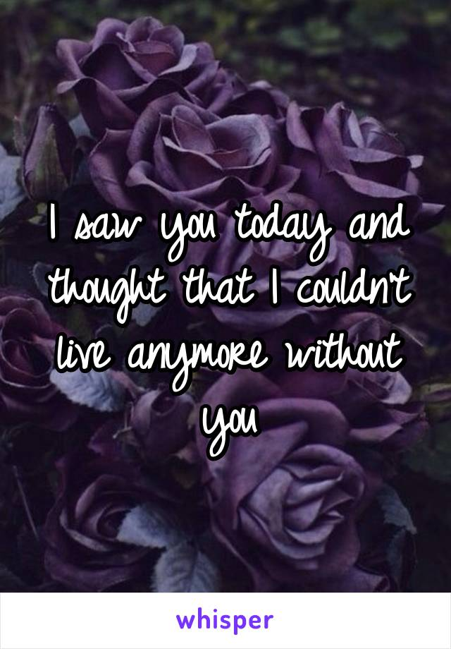 I saw you today and thought that I couldn't live anymore without you