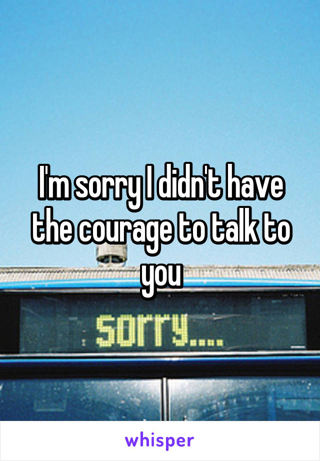 I'm sorry I didn't have the courage to talk to you