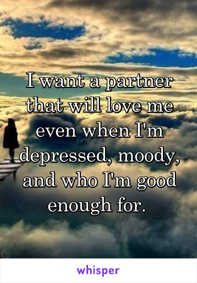 I want a partner that will love me even when I'm depressed, moody, and who I'm good enough for.