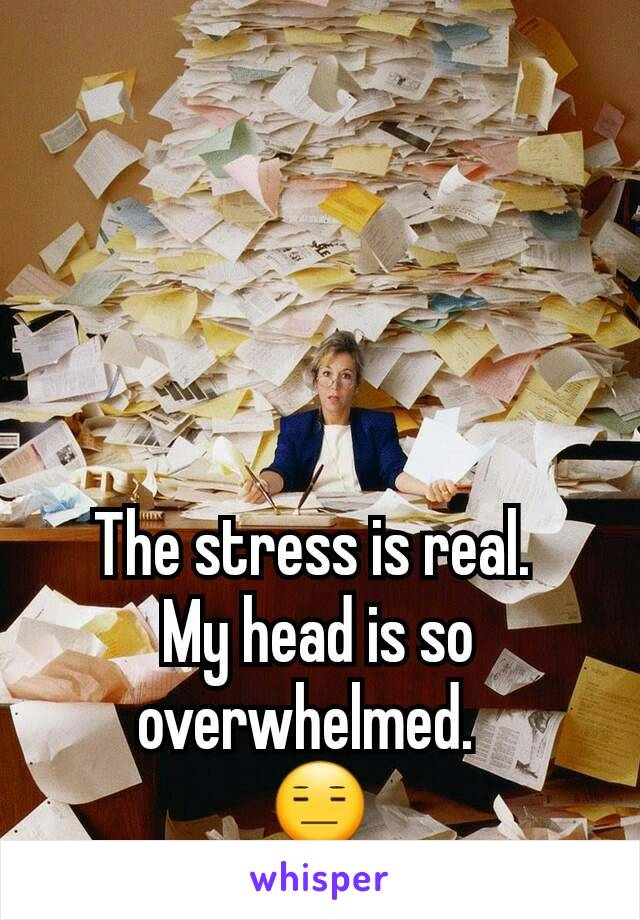 The stress is real.  My head is so overwhelmed.   😑