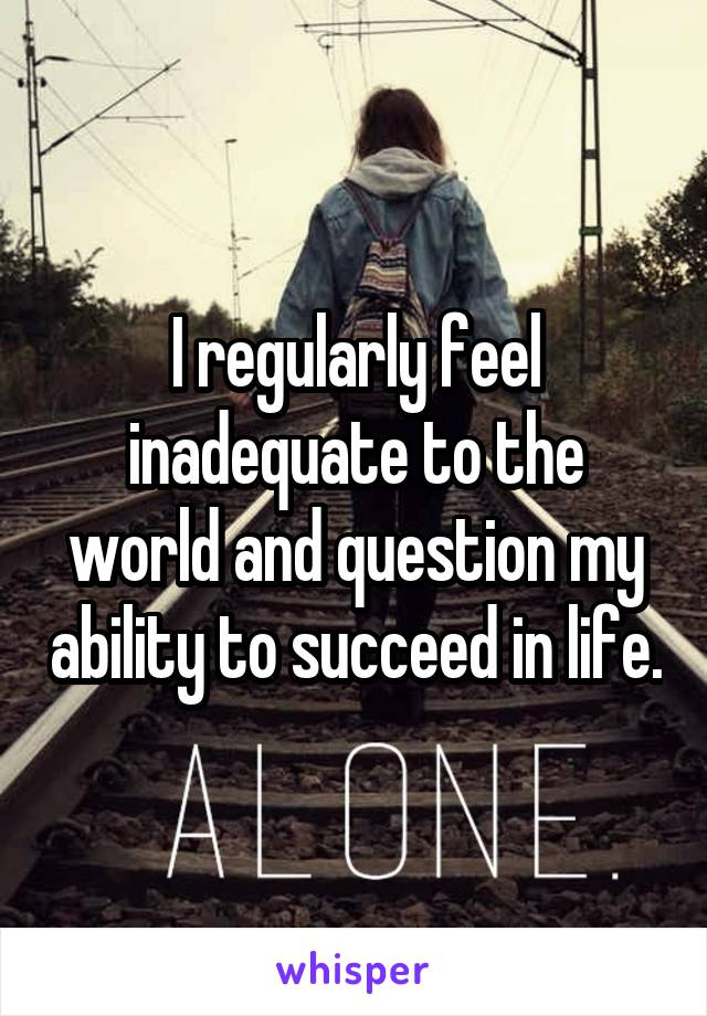I regularly feel inadequate to the world and question my ability to succeed in life.