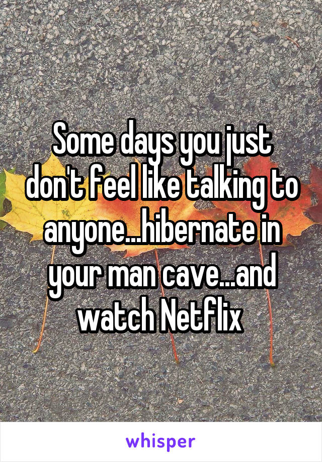 Some days you just don't feel like talking to anyone...hibernate in your man cave...and watch Netflix