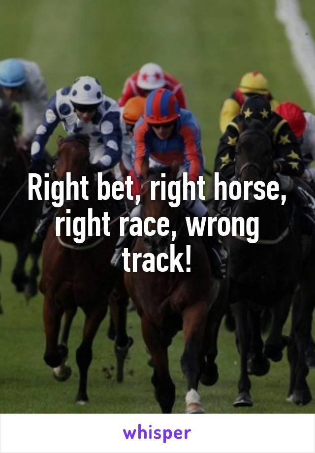 Right bet, right horse, right race, wrong track!