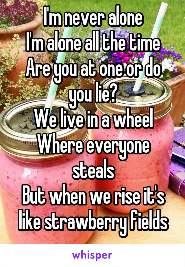 I'm never alone I'm alone all the time Are you at one or do you lie? We live in a wheel Where everyone steals But when we rise it's like strawberry fields