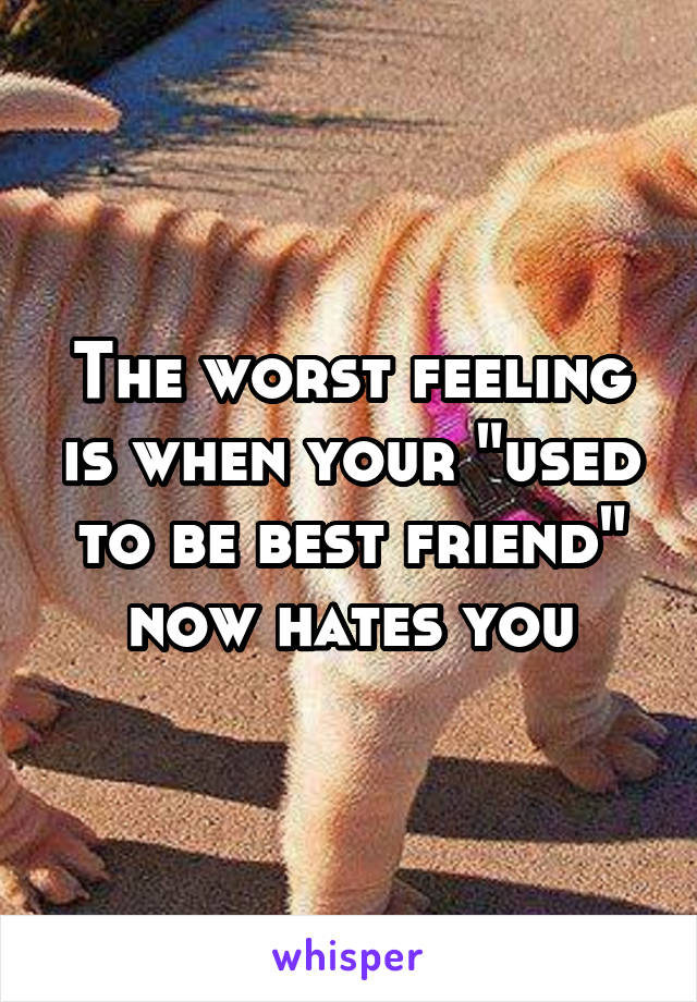 """The worst feeling is when your """"used to be best friend"""" now hates you"""