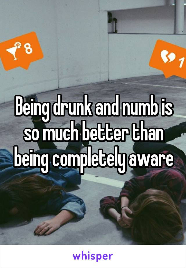 Being drunk and numb is so much better than being completely aware