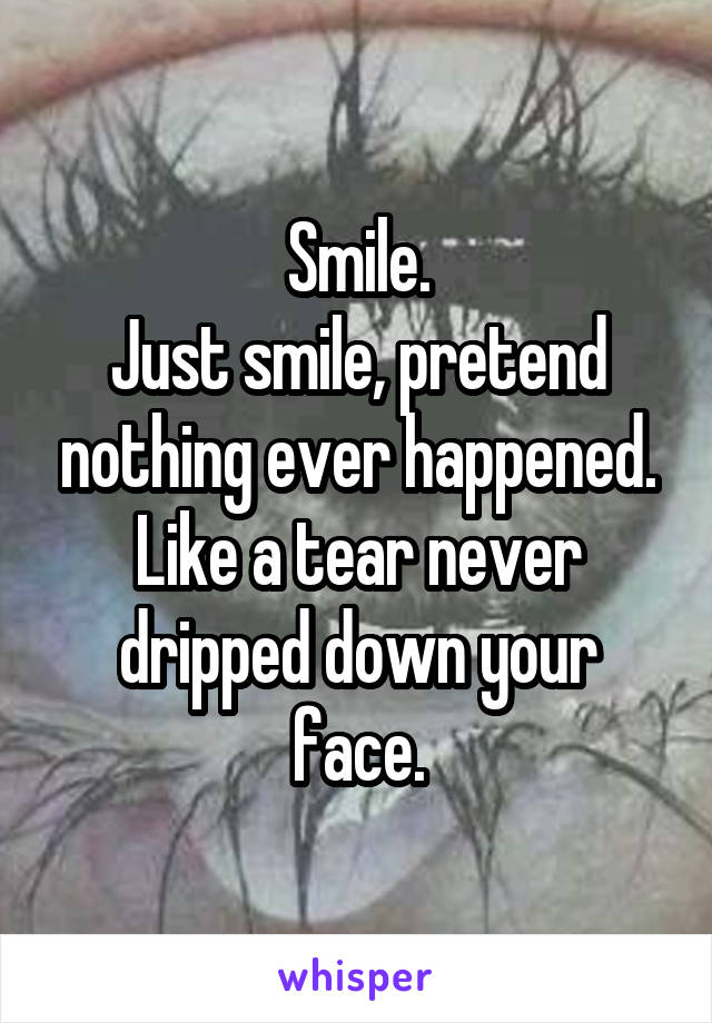 Smile. Just smile, pretend nothing ever happened. Like a tear never dripped down your face.