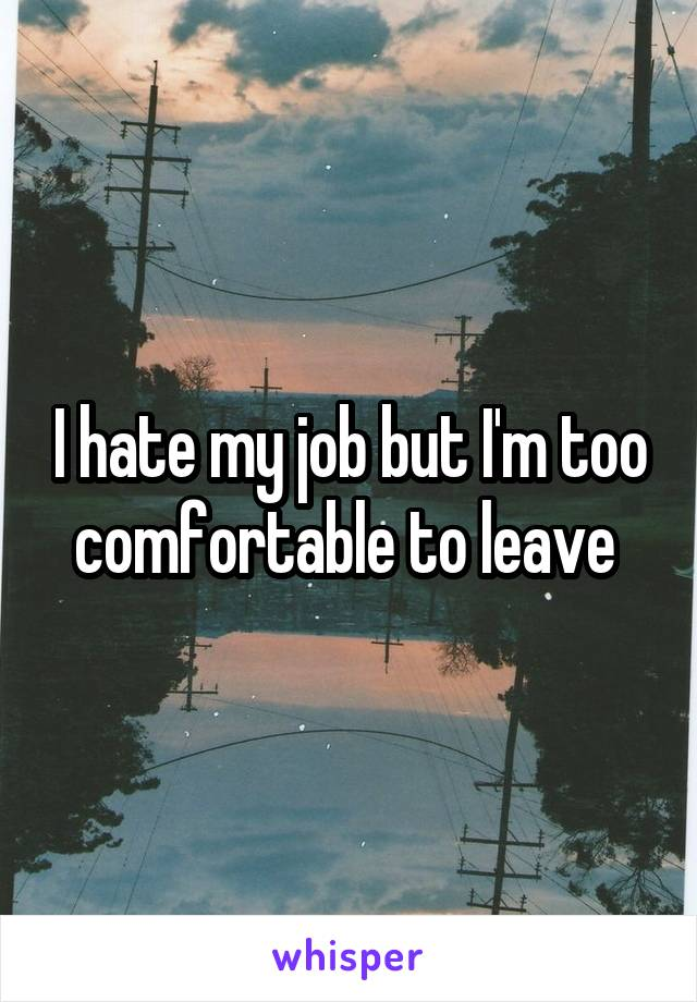 I hate my job but I'm too comfortable to leave