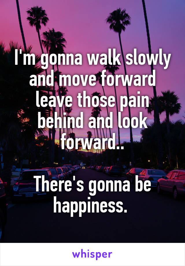 I'm gonna walk slowly and move forward leave those pain behind and look forward..  There's gonna be happiness.