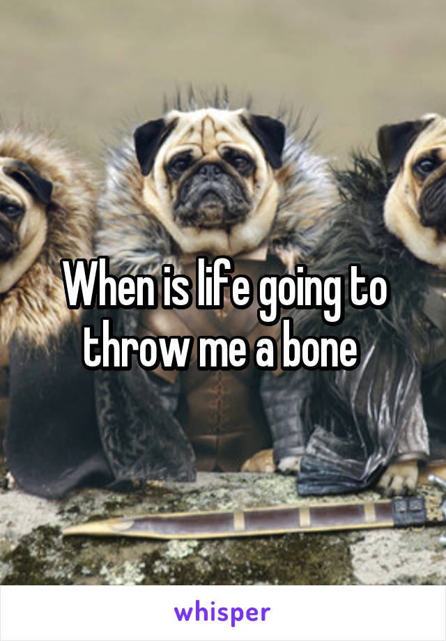 When is life going to throw me a bone