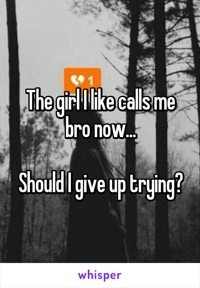 The girl I like calls me bro now...  Should I give up trying?