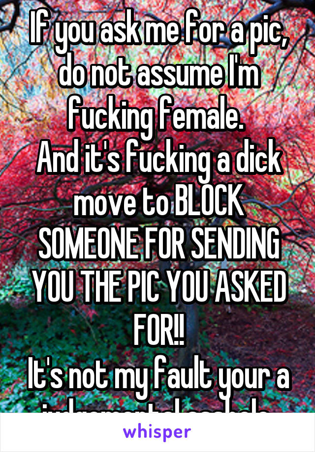 If you ask me for a pic, do not assume I'm fucking female.  And it's fucking a dick move to BLOCK SOMEONE FOR SENDING YOU THE PIC YOU ASKED FOR!! It's not my fault your a judgemental asshole