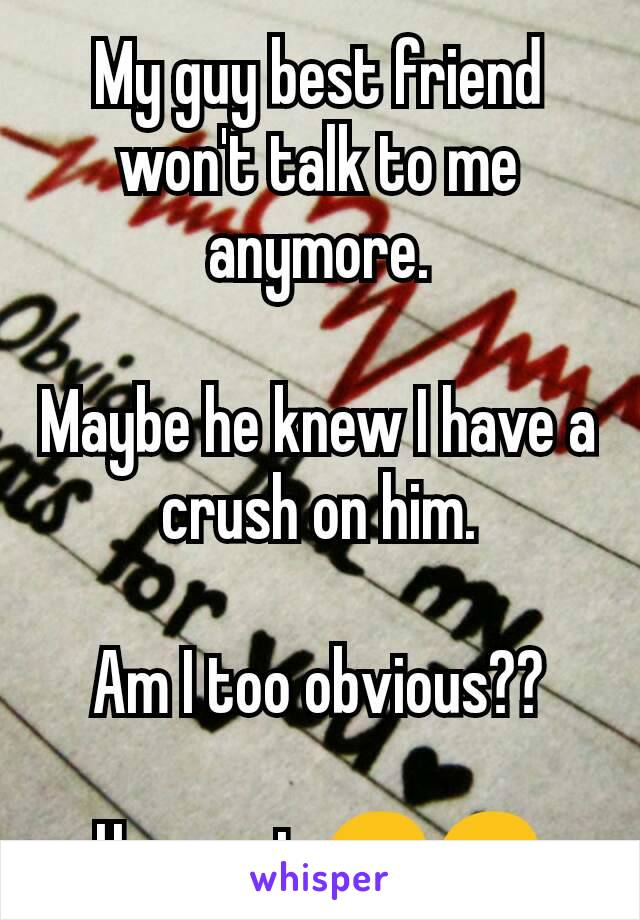 My guy best friend won't talk to me anymore.  Maybe he knew I have a crush on him.  Am I too obvious??  Hope not 😞😞