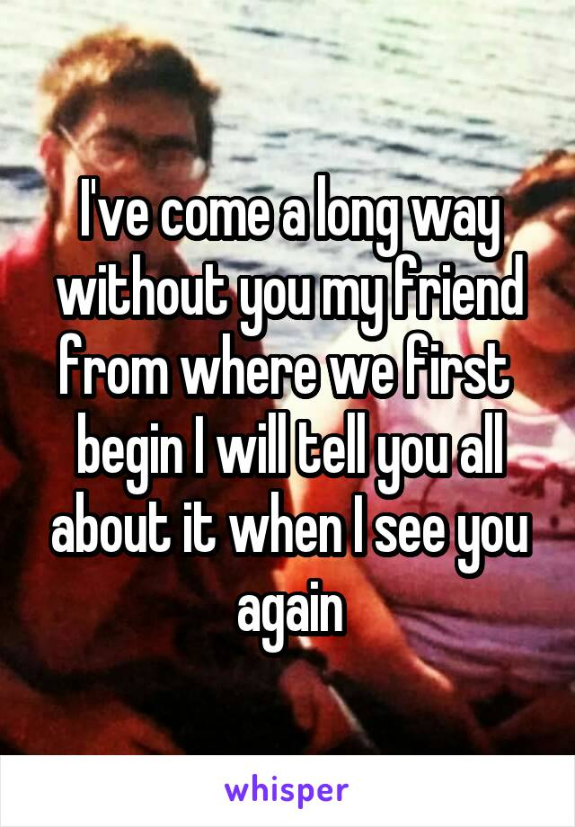 I've come a long way without you my friend from where we first  begin I will tell you all about it when I see you again