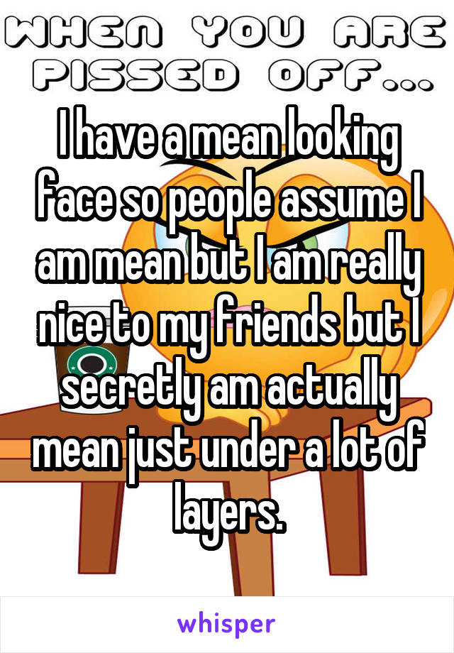 I have a mean looking face so people assume I am mean but I am really nice to my friends but I secretly am actually mean just under a lot of layers.