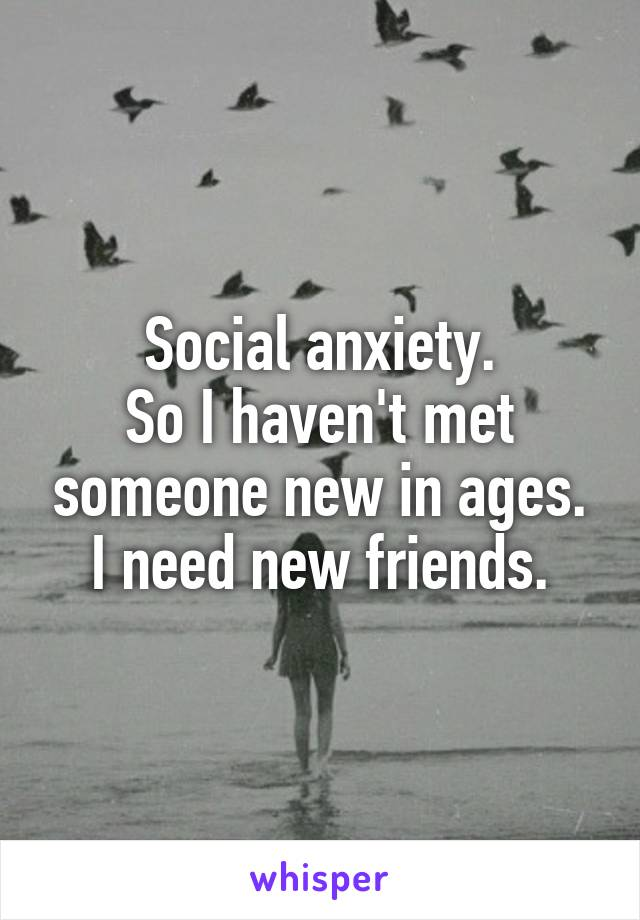 Social anxiety. So I haven't met someone new in ages. I need new friends.