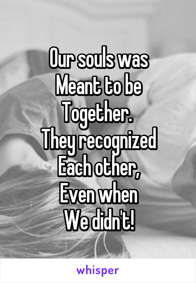 Our souls was Meant to be Together.  They recognized Each other, Even when We didn't!