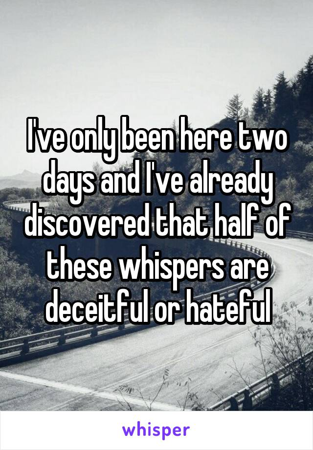 I've only been here two days and I've already discovered that half of these whispers are deceitful or hateful