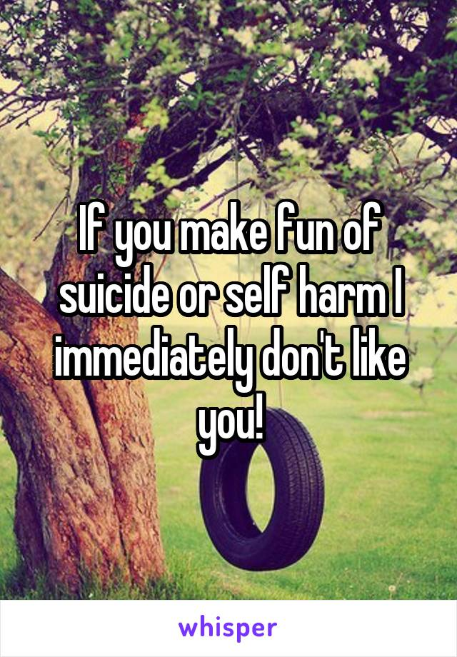 If you make fun of suicide or self harm I immediately don't like you!
