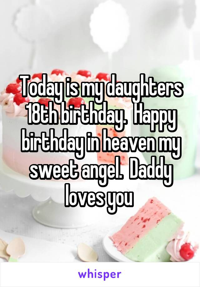 Today is my daughters 18th birthday.  Happy birthday in heaven my sweet angel.  Daddy loves you