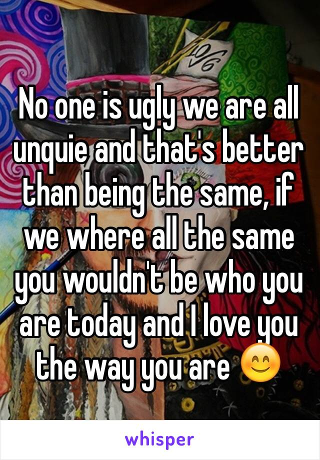 No one is ugly we are all unquie and that's better than being the same, if we where all the same you wouldn't be who you are today and I love you the way you are 😊