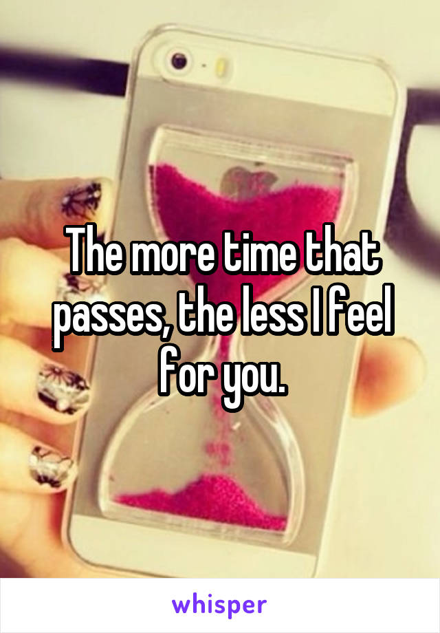 The more time that passes, the less I feel for you.