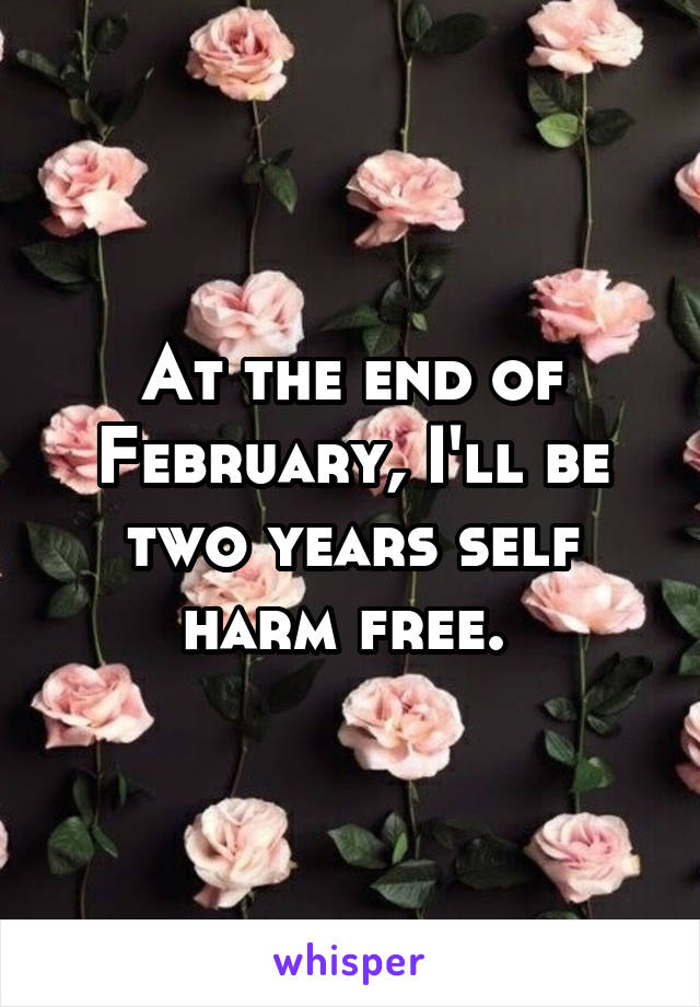 At the end of February, I'll be two years self harm free.