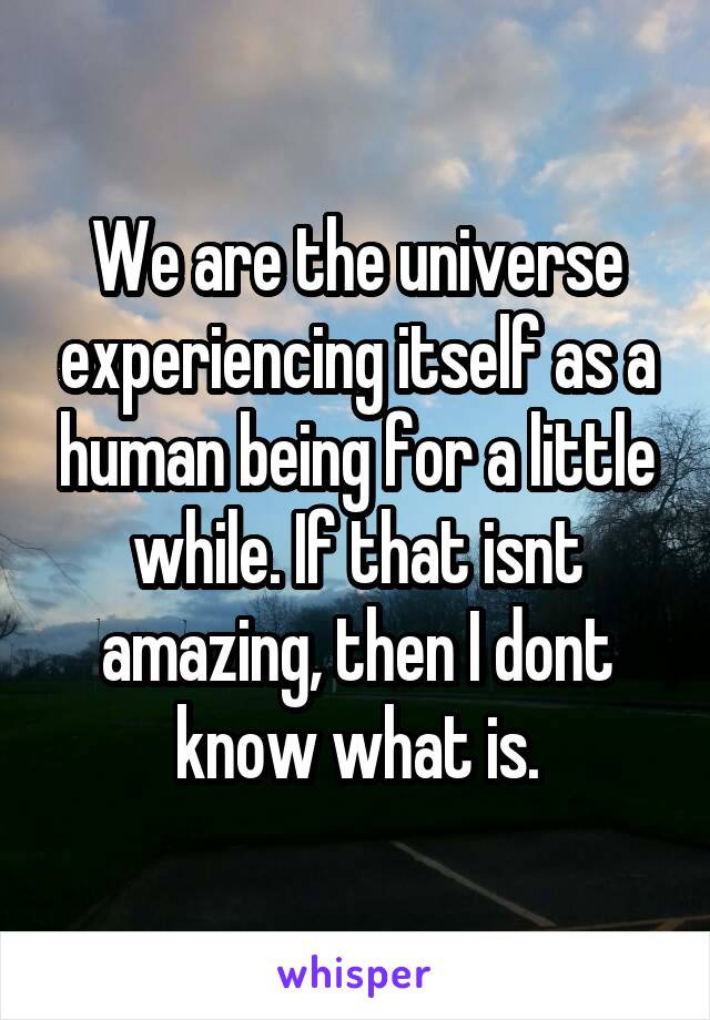 We are the universe experiencing itself as a human being for a little while. If that isnt amazing, then I dont know what is.